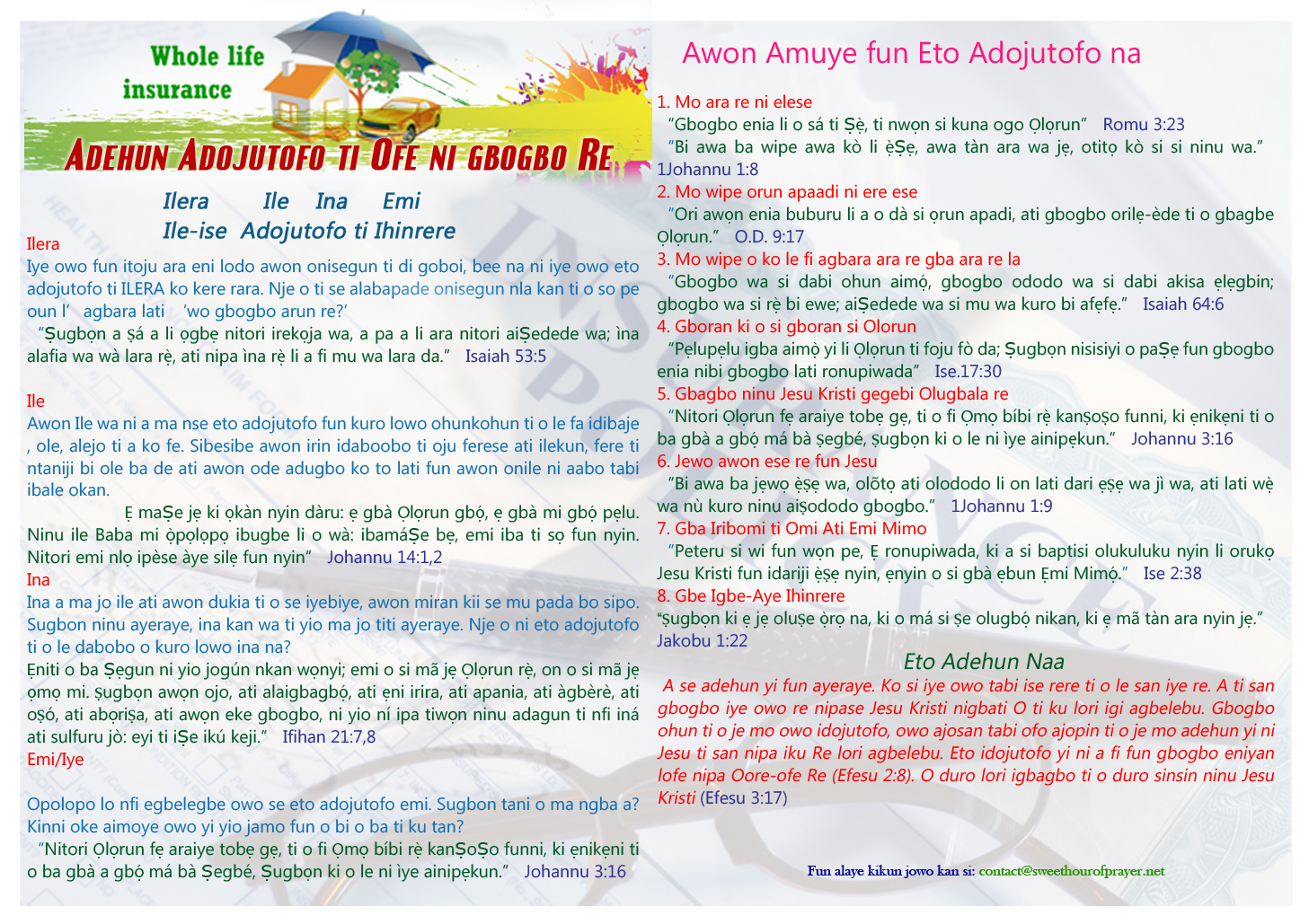 Free All inclusive Insurance Policy Yoruba
